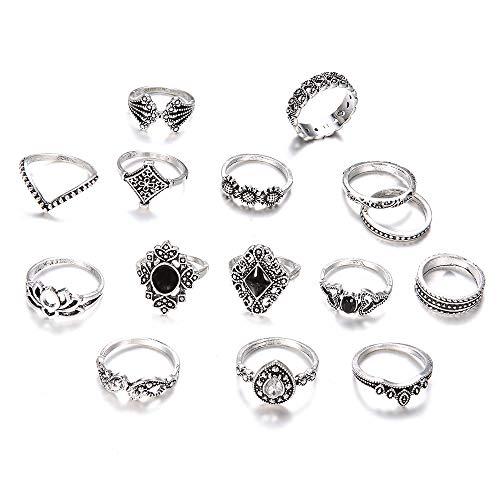 15PCS/SET Boho Vintage Gold Star Midi Moon Rings Set Women Jewelry Gifts (Vintage Silver)