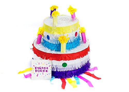 Trendario Pinata Geburtstagstorte, Pinjatta Kuchen ideal zum Befüllen mit Süßigkeiten und Geschenken - Piñata Torte für Kindergeburtstag Spiel, Geschenkidee, Party