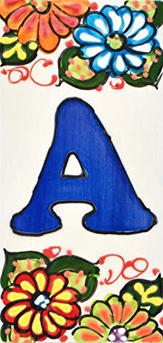 Letreros con numeros y letras en azulejo de ceramica hechos y pintados a mano, para placas con nombres, direcciones y señaléctica. Texto personalizable. Diseño JARDIN 14,5 cm x 7 cm. (LETRA 'A')