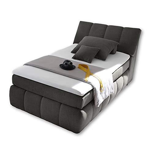 TOLEDO 2 Boxspringbett 120x200 mit Bettkasten, Anthrazit - Bequemes Bett mit 7-Zonen-Federkern Matratze H2-H3 & Komfortschaum Topper - 121 x 110 x 235 cm (B/H/T)