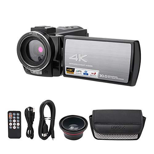CCYLEZ Videocámara de Video 4K, cámara Digital Full HD con Pantalla IPS de 3.0 Pulgadas, cámara de vlogging de Youtube con visión Nocturna con Zoom 6X para niños/Adolescentes/Principiantes(Metal)