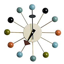Shise George Nelson Ball Clock in Multicolor, Decorative Modern Silent Wall Clock for Home, Kitchen,Living Room,Office etc. - Colorful Wooden Mid Century Retro Design(Full Range Available)