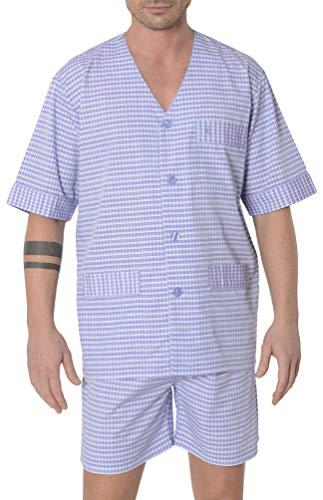El Búho Nocturno - Pijama Hombre Corto Judo Premium Dobby Cuadros Violeta 50% bambú poliéster Talla 4 (L)