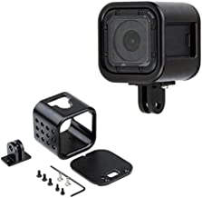 CNC Aluminum Alloy Housing Sport Camera Shell Box Frame Mount Prevent Overheating Case for GoPro Hero 5 Session/Hero 4 Session(Black)