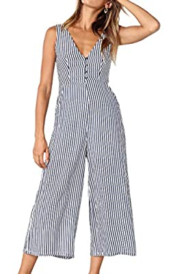 ECOWISH Womens Jumpsuits Casual Button Deep V Neck Sleeveless High Waist Wide Leg Jumpsuit Rompers with Pockets 098 Blue X-Large