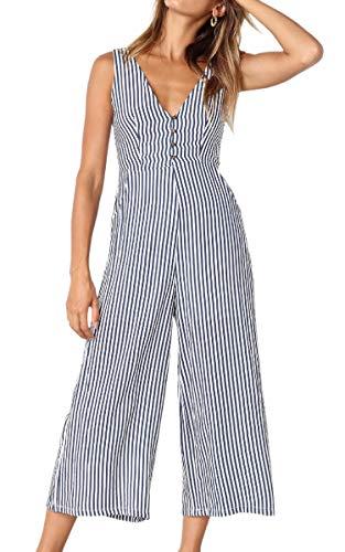 ECOWISH Womens Jumpsuits Casual Button Deep V Neck Sleeveless High Waist Wide Leg Jumpsuit Rompers 098Blue Medium