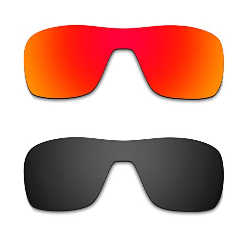 HKUCO Mens Replacement Lenses For Oakley Turbine Rotor Sunglasses Red/Black Polarized