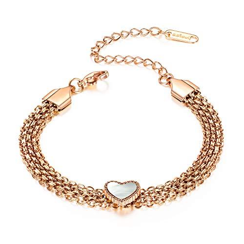 AMOE pulsera de corazones de oro rosa para mujer con colgantes de corazón pulsera para mujer pulsera de acero inoxidable pulsera de amor hecha de titanio pulsera de acero inoxidable