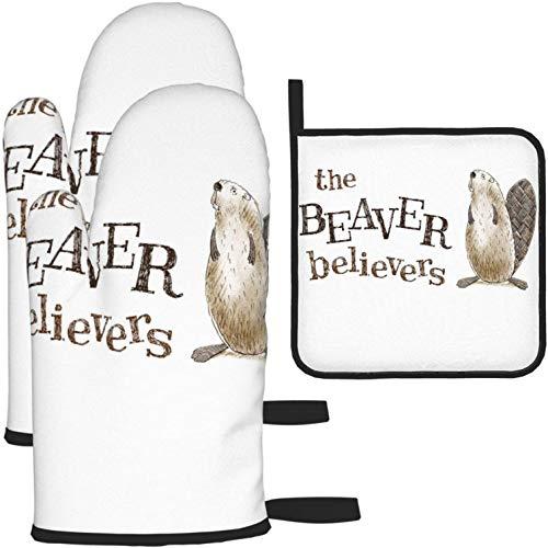 MODORSAN The Beaver Believers Ofenhandschuhe und Topflappen rutschfeste hitzebeständige Küchenofenhandschuhe zum Kochen, Backen, Grillen, Grillen