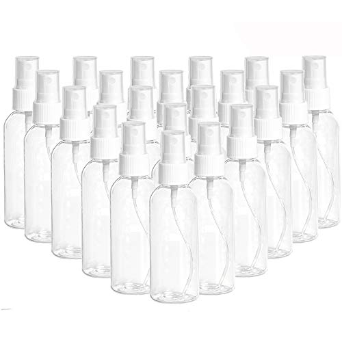 20 Pack 2.7oz Fine Mist Clear Spray Bottles Refillable & Reusable Empty Plastic Travel Bottle for Essential Oils, Travel, Perfumes