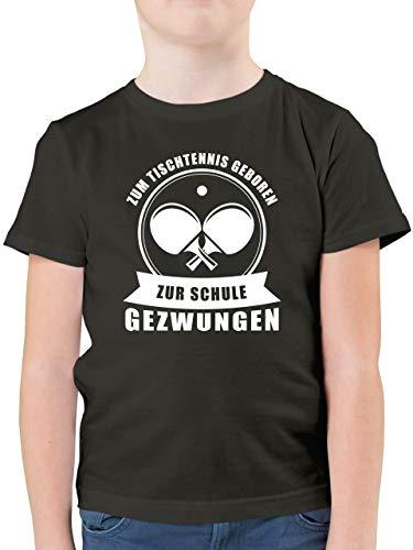 Sport Kind - Zum Tischtennis geboren. Zur Schule gezwungen - 164 (14/15 Jahre) - Anthrazit - Statement - F130K - Kinder Tshirts und T-Shirt für Jungen