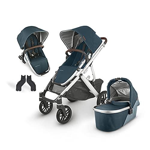 UPPAbaby Vista V2 Stroller - Finn (Deep Sea/Silver/Chestnut Leather) + Upper Adapters + RumbleSeat V2- Finn (Deep Sea/Silver/Chestnut Leather)