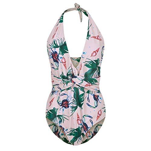 New FEDULK Summer Swimwear Womens One Piece Monikini Swimsuit Floral Print Beachwear Tummy Control B...