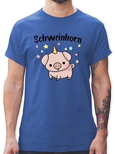 Karneval & Fasching - Schweinhorn - L - Royalblau - Schwein t-Shirt männer - L190 - Tshirt Herren und Männer T-Shirts