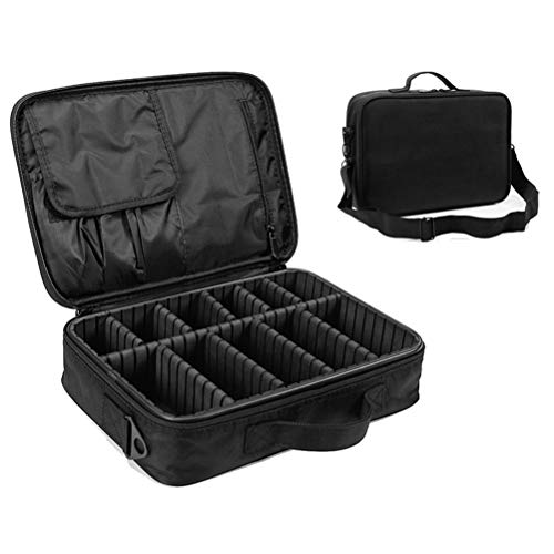 Sac à cosmétiques imperméable à l'eau amovible partition brosse organisateur portable double couche grande capacité Make Up Bag,Black