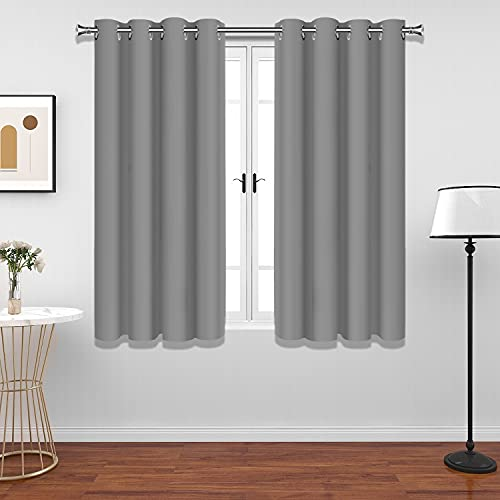 Gray Blackout Curtains for Bedroom, UV Blocking Solid Dark Grey Curtains Thermal Insulated Grey Curtains for Bedroom Office & Home Decoration