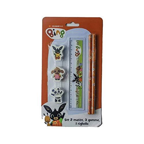 Coriex Schulset Bing 6-teilig - 3 Radierer, 2 Bleistifte, 1 Lineal