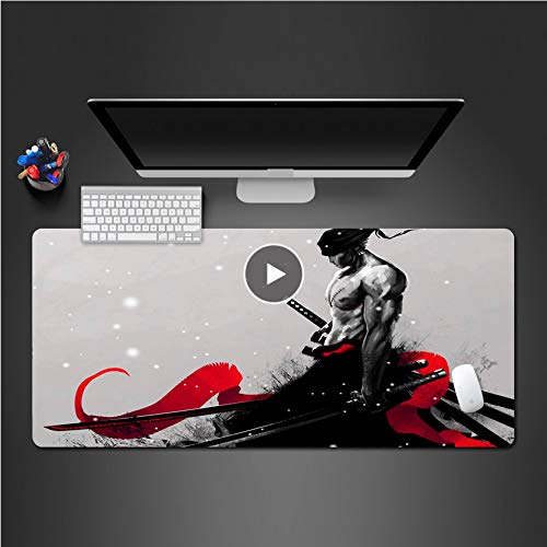 Sxkdyax Mauspad Fein Schwarz Weiß Animation Mauspad Gummi Mauspad Büro Laptop Tastatursperre Pads-70CMX30CM