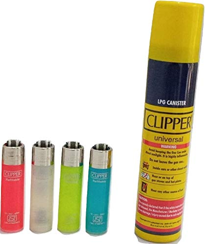 KOFY Clipper Bundle Pack - 4 Rugged Transparent Lighters with 1 no. Clipper Gas Refill Can 100ML