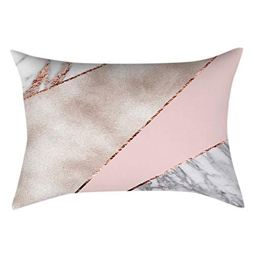Longsw 30x50cm Rectangulo Sofa Home Almohada Cubierta Decorativa De Mármol Rosa Purpurina Oro Rosa Cojin De Terciopelo Estampado Geometrico Cubierta De Poliéster Melocotón Nórdico