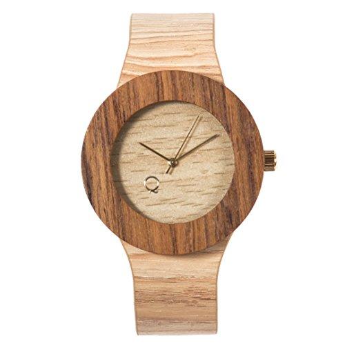 seQoya - Serengeti   Reloj de Madera con Esfera de Madera y Correa de Piel ecológica simulando Madera Estampada   Reloj Hombre y Mujer   Diseño único y Original