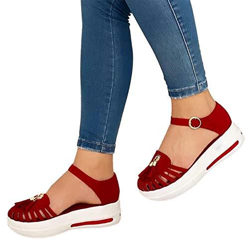 AZEWO Sandales Femmes Plates Caoutchouc Casual Confort Chaussures de Conduite La Mode Été Chaussures de Marche Tongs Sandales été Femmes Plage Rome Chaussons