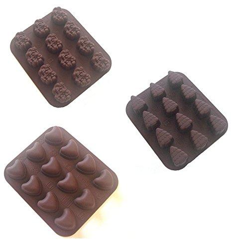 Silikon Pralinenformen Set WEIHNACHTEN 3 tlg, 12 x 14 cm bestehend aus 12 Herzen, 12 Tannenbäume und 12 Weihnachtsmänner, von - 60° C bis + 280° C temperaturbeständig