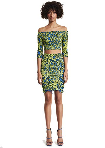 Denny Rose Completo Gonna E Top Donna 10064 (42) Animalier Verde Blu