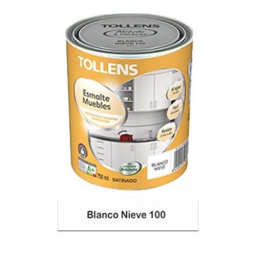 Tollens - Esmalte para muebles al agua 750 ml gran resistencia a golpes, manchas y rayadas. (Blanco Nieve 100)