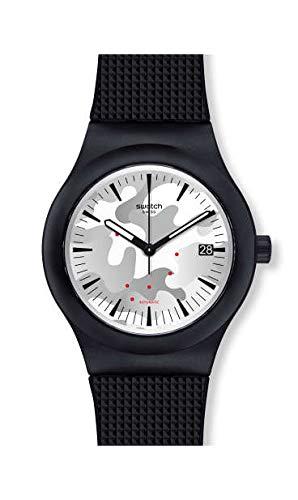 Swatch Herren Analog Quarz Uhr mit Silikon Armband SUTB407
