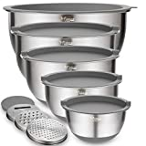 Mixing Bowls Set of 5, Wildone Stainless Steel Nesting Bowls with Grey Airtight Lids, 3 Grater Attachments, Measurement Marks & Non-Slip Bottoms, Size 5, 3, 2, 1.5, 0.63 QT, Ideal for Mixing & Serving