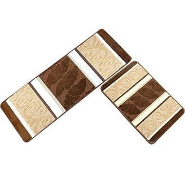 HEBE Kitchen Rugs Set 2 Piece Non-Slip Kitchen Mats and Rugs Runner Set Rubber Backing Kitchen Floor Rug Runner Doormat Runner Machine Washable(18 x47 +18 x30 , Brown 2)