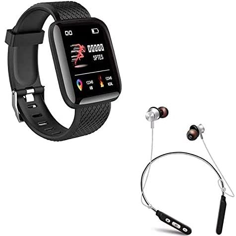 Squaircle [1+1 Years Replacement Warranty Special] D116 Smart Watch Men Women Waterproof Wristband Blood Pressure Heart Rate etc With M8 Sport Bluetooth Earphone Magnetic Noise Cancelling Bluetooth Headset