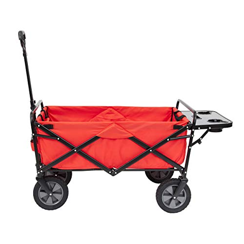 Mac Sports Collapsible Folding Outdoor Utility Wagon (Wagon with Side Table, Red)