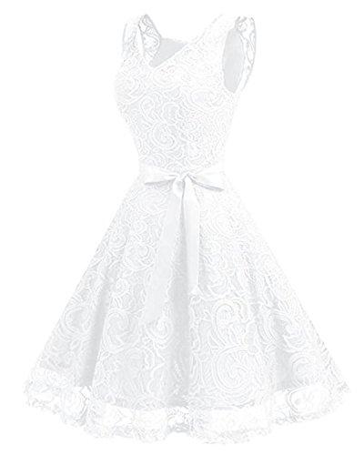 Kidsform Damen Spitzen Kleider Ärmellos V-Ausschnitt Partykleid 50er Jahre Abendkleider Cocktailkleid Elegant für Hochzeit Ballkleid Weiß EU 38-40/Etikettgröße M - 3