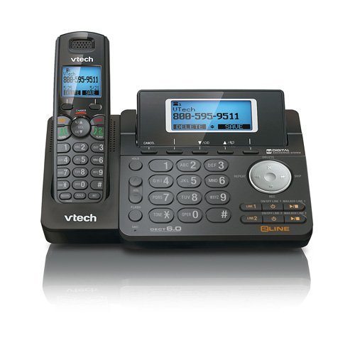 Vtech DS6151 Dect 6.0 2-Line Expandable Cordless Phone with Digital Answering System and Caller ID (Expandable Cordless Phone, Black)