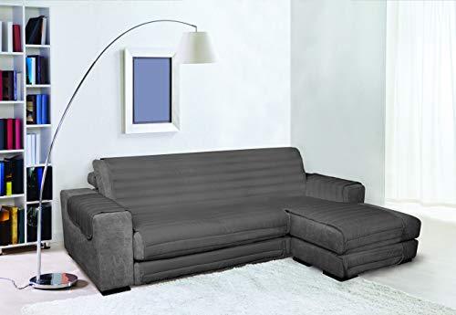 TRENDY Funda para sofà de Doble Cara, Resistente al Agua, Gris Oscuro, 240cm