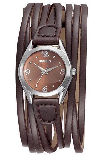 Findtime Damen Analog Uhr Quarzwerk mit Leder Wickelarmband Elegant Vintage