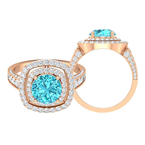 3.25 CT Swiss Blue Topaz Ring, D-VSSI Moissanite Gold Ring, Double Halo Engagement Ring, Solitaire Ring With Side Stone (8 MM Swiss Blue Topaz), 14K Rose Gold, Size:UK X