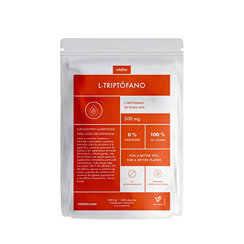 L-Triptófano - 500mg por Porción - 240 Cápsulas - Dosis Alta - Precursor Natural de Serotonina y Melatonina (Hormona del Sueño) - Vegano - Máxima Biodisponibilidad - German Quality