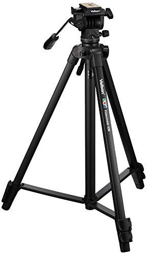 Velbon Videomate 438/F Aluminium Dreibein-Stativ inkl. PH-248 Kopf (Höhe 153,5 cm, Belastbarkeit 2 kg) Schwarz
