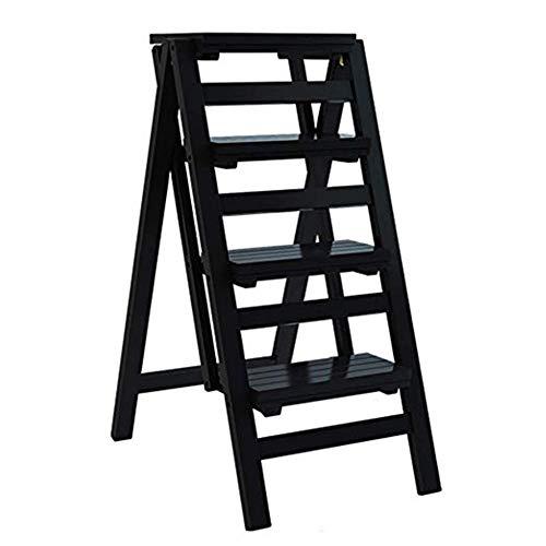 GG.S Taburete De Madera Maciza Escalera Plegable For El Hogar Taburete Escalera Ascendente Portátil De 4 Escalones (Color : Black)