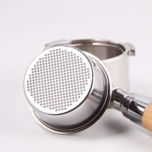 LXH-SH Outils de café Acier Inoxydable Bottomless Professionnel Porte Filtre Machine à café Espresso avec Manche en Bois Filtre 51MM (Color : 51MM) Dark Khaki