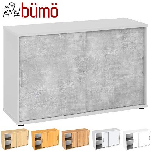Bümö archiefkast met schuifdeuren voor 2 of 3 ordnerhoogtes, kantoorkast voor documenten H=74,8 cm   2 Ordnerhöhen grijs/beton