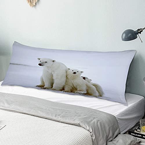 Funda de Almohada para el Cuerpo,Familia de Osos Polares con Dos pequeños cach,Funda de Almohada Larga y Transpirable con Cremallera para sofá de Dormitorio,sofá de 20