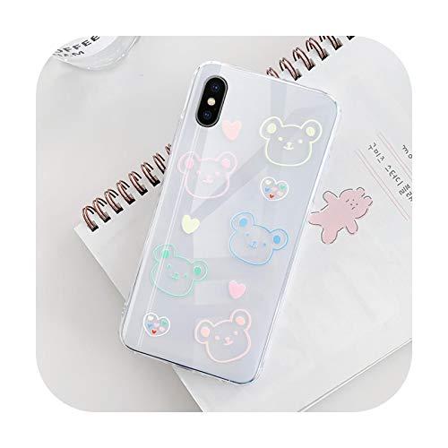 Para iPhone xs max caso de dibujos animados oso transparente cubierta de TPU lindo animal caída protección de la cubierta trasera del teléfono caso-T063-Para iPhone XS max
