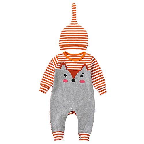 Bebone Baby Junge Mädchen Strampler Baumwolle Babykleidung (3 Monate/66, Orange 2)