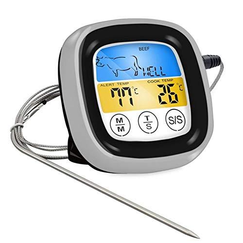 HEWE Digitales Fleisch-Thermometer Genaue Thermometer, Kochen Lebensmittel BBQ Thermometer für Grillen mit Smart Kochen Timer-Modus und Hintergrundbeleuchtung für Küche