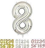 Globos de Cumpleaños Número 8 Plateado - 100cm - Globo de Cumpleaños - Grandes para fiestas cumpleaños aniversario, comunión boda plata 8 años gigante