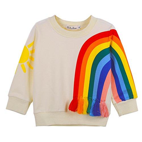 BOBORA Sweat-Shirt Bébé Filles, Vetements Enfants T-Shirt en Coton à Manches Longues, Sweat-Shirt Mignon avec Pompon et Lapin pour Filles 1-7Ans